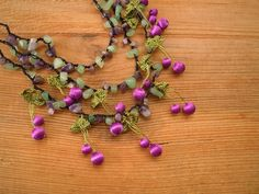 purple cherry necklace turkish oya crochet by PashaBodrum on Etsy