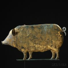 Gilt Molded Copper and Cast Zinc Pig Weathervane, American, late 19th C