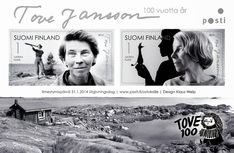 Finland Post Office will release a stamp to celebrate the anniversary of Tove Jansson the world-famous Finnish artist and author. Office Issues, Moomin Valley, Tove Jansson, Sell Stamps, Fuzzy Felt, First Day Covers, Mail Art, Stop Motion, Postage Stamps