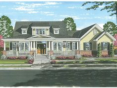 Farmhouse Home Plan with 2410 Square Feet and 4 Bedrooms from Dream Home Source | House Plan Code DHSW077425