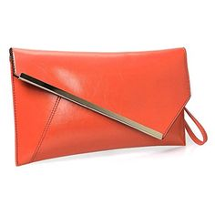 BMC Fashionably Chic Bright Orange Faux Leather Gold Metal Accent Envelope Style Statement Clutch * You can get more details at