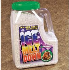 Ice Melt Down melts snow & ice below 0 degree F.  The Non-salt compound is safe & easy to handle; no protective gloves or clothing required. Environmentally safe for trees, shrubs, grass, it doesn't affect quality concrete & won't corrode metals or damage carpet.  Keep your walkways safe for people without endangering your pet's health.  Unlike salt products which are mined & refined, it contains 3 organic ingredients to quickly melt walkways.  Available at Global Pet Foods stores.