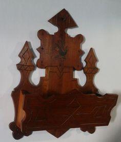 Antique Victorian Carved Eastlake Wall Pocket Letter Comb Holder W/ Bird  Decal