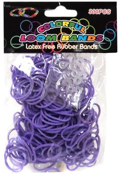 Colorful Loom Bands 300 PURPLE Rubber Bands with 'S' Clips