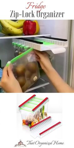 Save space in the fridge with this sliding organizer. Fill the zip-lock bags with leftovers and fresh produce. Hang them on the organizer to free up space at the bottom. You can slide the organizer out for easy browsing.#fridgestorage #kitchenstorage #thatorganizedhome #fridgeorganizer Food Storage Organization, Fridge Storage, Small Kitchen Storage, Kitchen Storage Solutions, Bag Storage, Organization Ideas For The Home, Storage Ideas, Home Gadgets, Kitchen Tools And Gadgets
