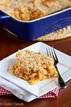 Light Sweet Potato Mac 'n Cheese Recipe | cookincanuck.com #recipe #vegetarian