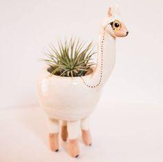 Llama by ScavengeAndBloom Alpacas, Diy Inspiration, Quirky Gifts, Cactus Y Suculentas, Ceramic Art, House Plants, Planting Flowers, Pots, Planters
