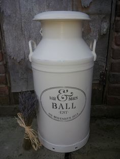 Painted milk churn for a farm themed wedding!!! It has a slit in the top where guests can post cards to the happy couple.https://www.facebook.com/myfarmhousevintage?ref=tn_tnmn