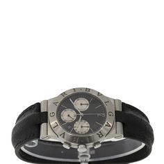 Brand: Bvlgari Style Name: Diagono Chronograph Strap Material: Leather Case Metal: Stainless Steel Dial: Black Chrono with Silver Hour Markers Case Diameter: Bvlgari, Luxury Jewelry, Leather Case, Omega Watch, Chronograph, Markers, Jewelry Watches, Stainless Steel, Unisex