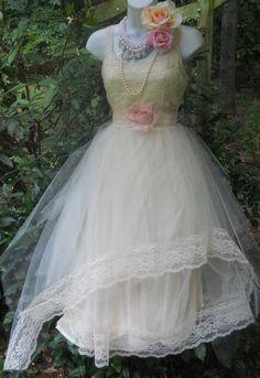 Cream  tulle dress  lace wedding beaded  by vintageopulence, $180.00