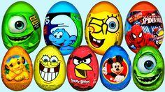 kinder surprise eggs unboxing cars 2, hello kity, minie mouse disney, Sp...
