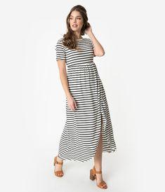 d27273f7e54 Retro Style Black   White Stripe Short Sleeve Knit Maxi Dress