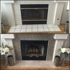 DIY fireplace makeover under $100 Smart Tiles in Muretto Beige -$70/Home Depot Rustoleum High Heat Spray in Black-$5/Walmart Stainmaster Luxury Vinyl Tiles in Pistachio (18×18, Groutable, peel stick)-$2.88 each/Lowes