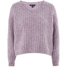 TopShop Oversized Lofty Ribbed Sweater (€67) ❤ liked on Polyvore featuring tops, sweaters, topshop, lilac, topshop sweater, ribbed sweater, purple top, rib sweater and purple sweater
