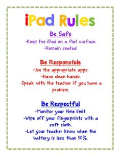 Rules A poster of some reminders when using an iPad.A poster of some reminders when using an iPad. Teaching Technology, Teaching Tools, Educational Technology, Creative Teaching, Future Classroom, School Classroom, Bilingual Classroom, Classroom Decor, Classroom Organization