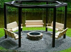 Awesome swinging benches around a fire pit. Perfect for the backyard!  This would fit in our backyard....