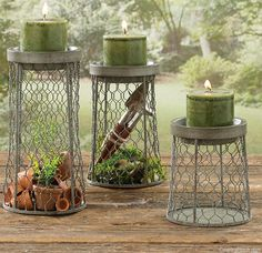 Chicken Wire Candle Holders