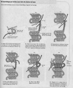 Starting without foundation chain - Bruges lace Japanese Crochet Patterns, Crochet Edging Patterns, Crochet Lace Edging, Crochet Diagram, Love Crochet, Irish Crochet, Crochet Doilies, Knitting Patterns, Bruges Lace