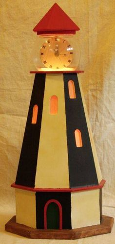 lighthouse cloock lamp decor
