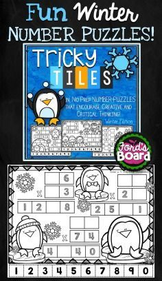 Tricky Tiles is a hands-on number sense activity that incorporates problem solving and mathematical reasoning. Each activity will challenge and engage students as they arrange 10 number tiles (0-9) on a winter-themed coloring page so that all equations are correct and/or balanced. Afterwards, students reward themselves for a job well done by coloring the winter-themed page!