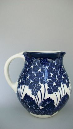 Primrose Pitcher. Cobalt pottery KennethTracy potery