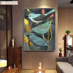 Nightingale Bird Canvas Art for Wall. Paintings of birds on branches. Bird Art Prints for living room. ideas big The Story of Nightingale And Plants Wall Art – Vangovagon Home Store Bird Canvas, Abstract Canvas, Wall Canvas, Oil Painting On Canvas, Canvas Art, Painting Abstract, Bird Paintings On Canvas, Love Birds Painting, Large Painting