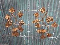 2 Mid century Italian gold tole Hollywood regency candle wall sconce elegant vtg