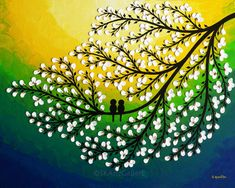 Items similar to Love birds Painting Giclee print, Yellow Green artwork, White flowers art, Love birds print, Birds on tree art Birds home decor on Etsy 3d Canvas Art, Yellow Canvas Art, Small Canvas Art, Acrylic Canvas, Canvas Ideas, Watercolor Paintings, Original Paintings, Wall Paintings, Original Artwork