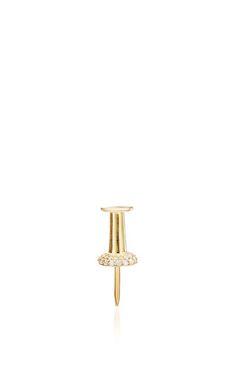 Single Pushpin Earring With Diamonds by Lauren Klassen for Preorder on Moda Operandi