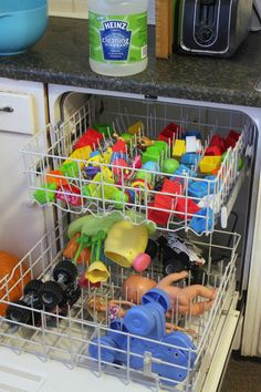 Clean your kids toys in the dishwasher with vinegar! Use 1 1/2 - 2 c. white vinegar. (And recipe for spray to clean wooden toys and others that can't go in the dishwasher.)