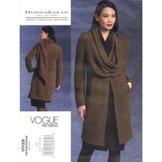 Easy Jacket Pattern Vogue 1129 Draped Scarf Donna Karan Womens Size 6 to 12 UNCUT - product images  of