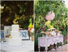 Decorating the cake table with family wedding photos; separate dessert bar.