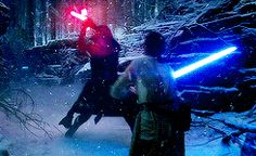 "The epic lightsaber duel in the snow from ""The Force Awakens"" (2015)"