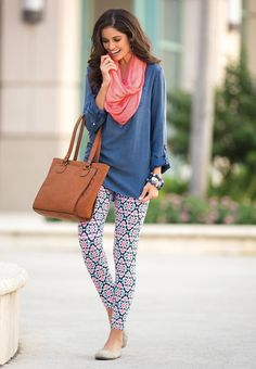 Like the top and scarf but not sure about the pattern on the pants