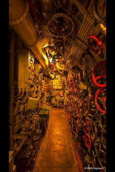 Inside a Russian submarine.