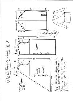 Patrón para hacer una blusa cruzada, fácil de hacer también facilita un gráfico con instrucciones para el montaje de la blusa. Tallas desde la 36 hasta 56.