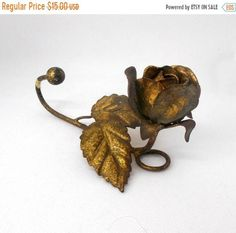 Gold Enameled Metal Rose Flower Wall Hanging Hanger Hook #VintageDecor #collectibles #homedecor
