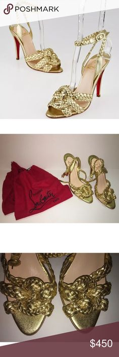 Authentic Gold Braided Louboutins NEW without tags Gorgeous pair of gold braided Christian Louboutins (leather Marilou woven sandals) with dust bags included. These one of a kind shoes are simply stunning. Retail price $870. Never been worn and in pristine condition- one shoe has two very small, very light red smudges in the instep/insole (see pic) Cannot be seen while worn. The actual size is U.K. 40/US 10, but I am a 8.5/9 and these fit perfectly. Christian Louboutin Shoes
