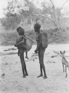 Herbert Basedow, Two women carrying large plaited baskets suspended from a band around their heads, Liverpool River, Arnhem Land, Northern Territory, Australia, 1928.