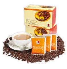 Maca EuCafé Esta mezcla de café de gran sabor contiene nata en polvo de origen vegetal, azúcar, café instantáneo y Maca en polvo (Lepidium meyenii).
