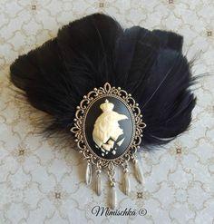 Broche pince à cheveux corbeau plumes noires : Broche par mimischka