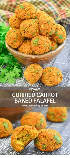 These Curried Carrot Baked Falafel are a healthy, super easy to make twist on traditional falafel. They are oil & gluten-free & packed with flavour. Serve them as part of a hearty plant-based meal, eat them as snacks, or pop them in packed lunches! #sponsored