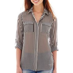 I 'Heart' Ronson® Roll Cuff Stripe Print Blouse - JCPenney