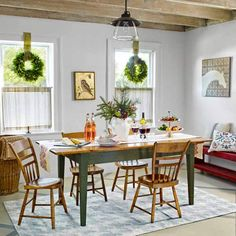 Dining Room , Captivating Farmhouse Style Dining Room : Festive Farmhouse Style Dining Room With Glass Pendant Lighting And Side Wooden Chairs And Farm Table And Cafe Curtains And Wreaths For The Windows