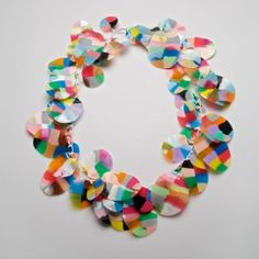 Sarah Enoch uses a personally developed and intricate technique for achieving a delightful lightness to her work. Her plastic necklaces are all about movement, texture, colour and a seamlessly fit to the body.