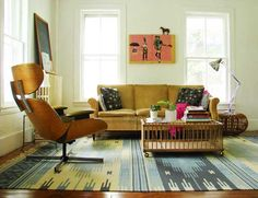 living room - nice white walls with nice pops of co-ordinating colour