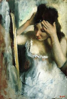 Woman Combing Her Hair Before a Mirror by Edgar Degas (France)