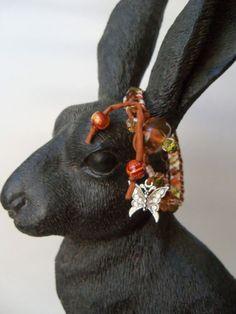 Chez glass and silk cord wrapped bracelet by DreamCornerJewelry,