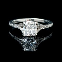 Cushion #Diamond #Ring at Donald Haack Diamonds - http://www.donaldhaack.com/engagement/product/items/cushion-diamond-ring-first/