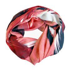 RED BIRDS chiffon silk scarf